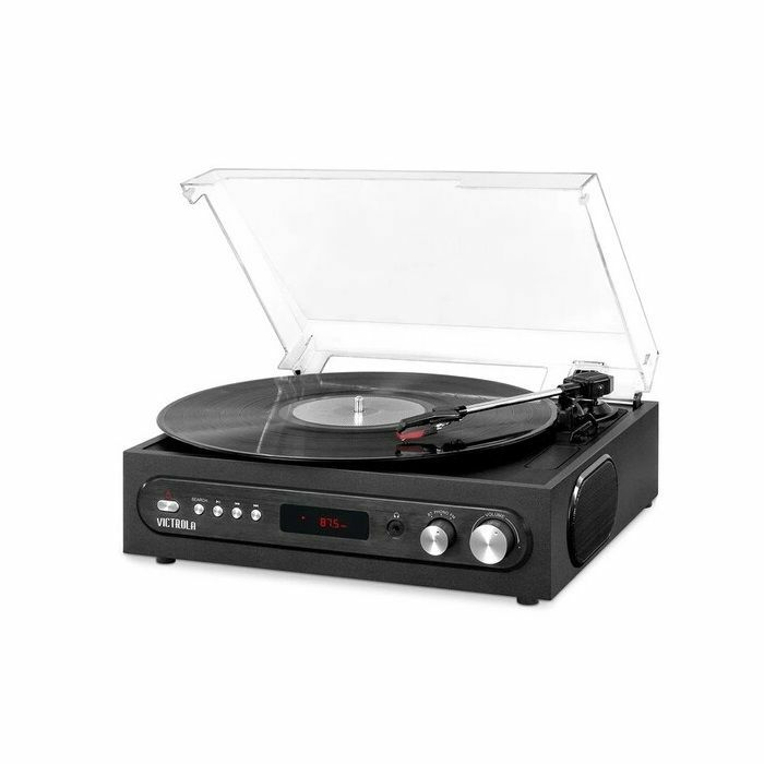 VICTROLA - Victrola VTA67BLK Retro 3-in-1 Bluetooth Wireless Turntable With Speeds & Built in Speakers FM Radio (black)