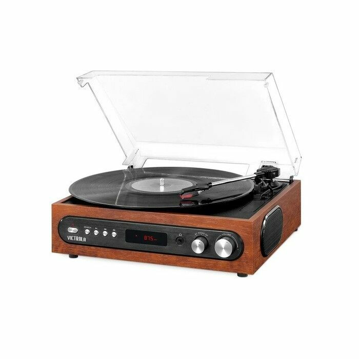 VICTROLA - Victrola VTA-67-ESP Retro 3-in-1 Bluetooth Wireless Turntable With 3 Speeds Built In Speakers & FM Radio (Espresso)