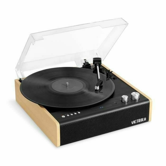 VICTROLA - Victrola VTA-72-BAM Eastwood Dual Bluetooth In/Out Turntable 3 SpeedFM Radio With Built In Speakers (Black/Brown)