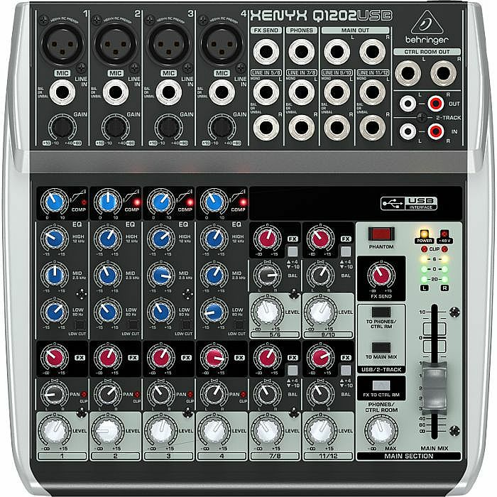 BEHRINGER - Behringer Q1202 USB Xenyx Premium 12 Input, 2 Bus Mixer + Free Tracktion 4 Audio Production Software (B-STOCK)