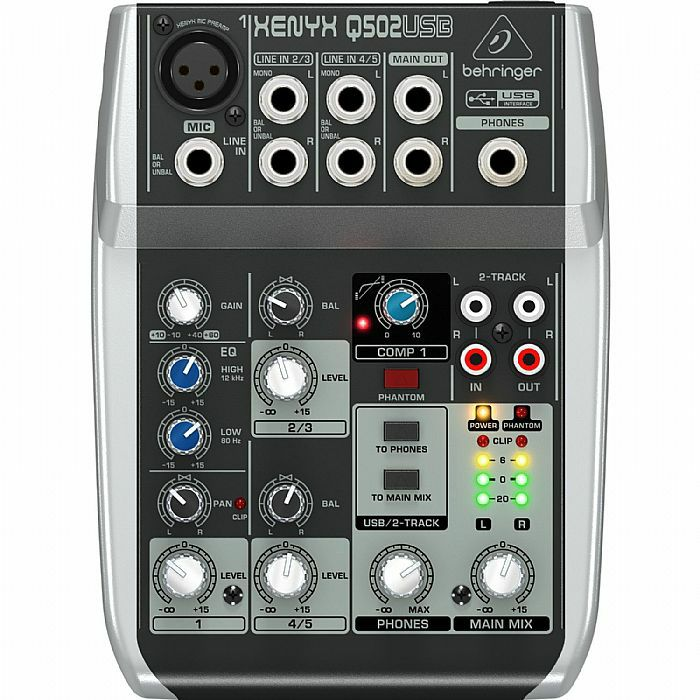 BEHRINGER - Behringer Q502 USB Xenyx Premium 5 Input, 2 Bus Mixer With Traktion 4 Audio Production Software (B-STOCK)